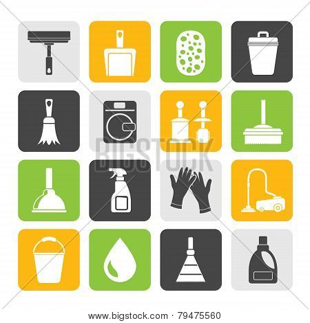 Silhouette Cleaning and hygiene icons - vector icon set poster