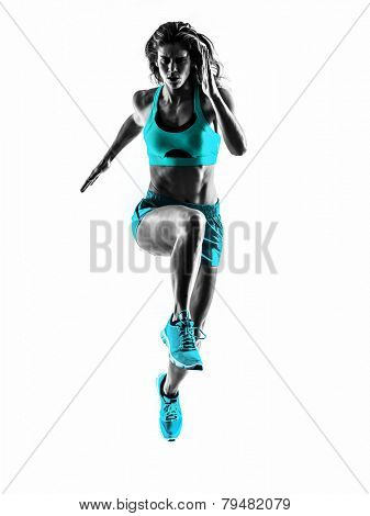one caucasian woman runner running jogger jogging  in studio silhouette isolated on white background poster