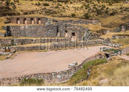Tambomachay, Incas ruins in the peruvian Andes at Cuzco Peru
