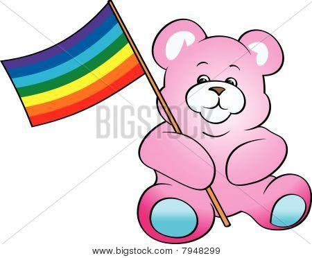 Oso de peluche con la bandera del arco iris