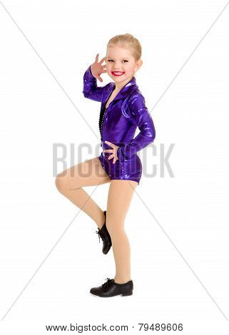 Tap Dance Kid In Sassy Recital Costume