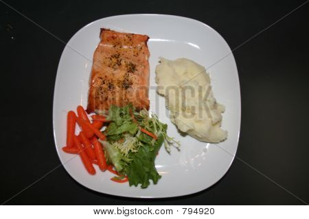 Salmon and Mashed Potato Dinner plate