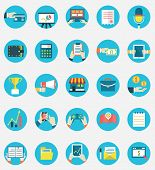 Set of business internet service and ecommerce icons. Symbols on management or analytics. Flat style - vector icons poster