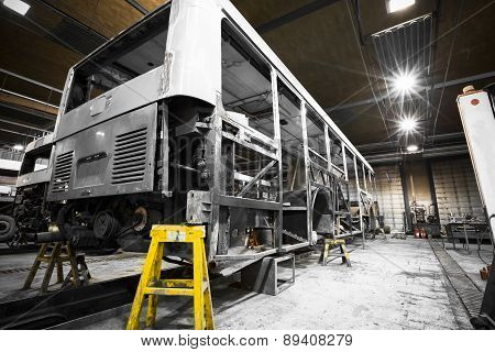 Bus Frame Structure During The Renovation Of The Repair Shop