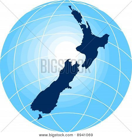 map of New Zealand with globe