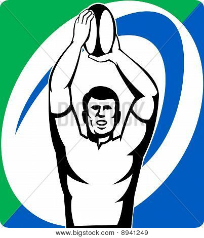 Rugby player throw line-out ball