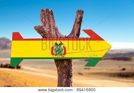 Bolivia Flag wooden sign with dry background