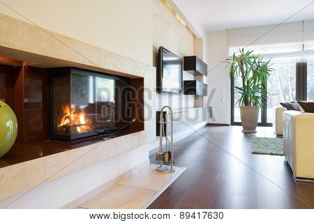 Fireplace At Apartment