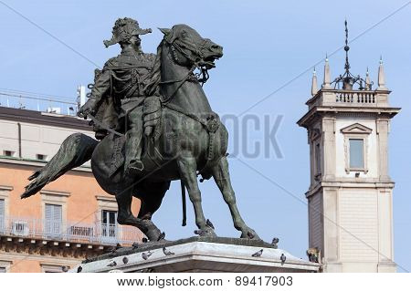 Bronze equestrian statue of the first king of united Italy - Viktor Emmanuel II designed by Ercole Rosa dedicated in 1896 in Milan depicts the king leading the army into famous battle of Solferino in 1859 poster