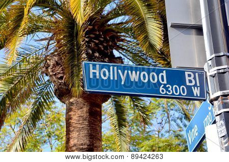 Hollywood boulevard street sign.