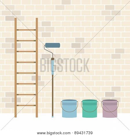 Ladder Paint Roller And Paint Buckets Home Improvement Vector Illustration. EPS 10 poster