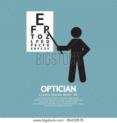 Optician Pointing To Snellen Chart Graphic Symbol.