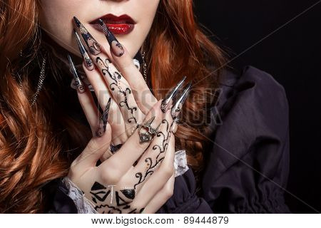 beautiful long sharp black graft acrylic nails image for witches