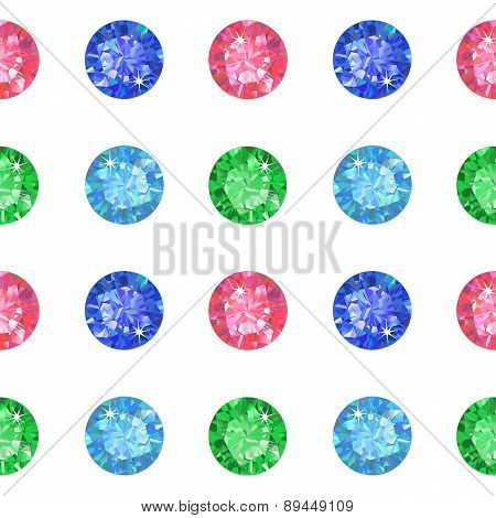 Seamless pattern of colored gems isolated on background vector illustration poster