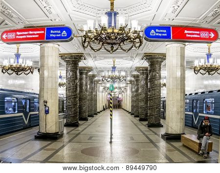 March 22, 2015. St. Petersburg, Russia.  St. Petersburg Metro Station Avtovo.