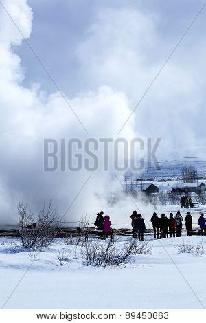 Visitors At The Geyser Eruption Of Strokkur, Iceland