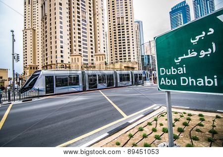 New tram service in the city of Dubai. March 16, 2015 in Dubai, United Arab Emirates