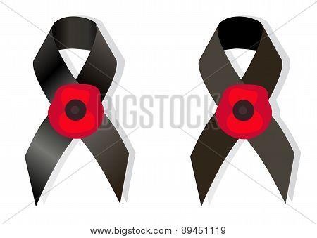 Black Awareness Ribbon And The Flower Poppy