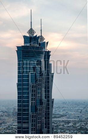 DUBAI, UAE - November 14: JW Marriott Marquis Dubai, UAE, as seen on November 14, 2016. It is the worlds tallest hotel, a 72-storey, 355 m (1,165 ft) twin-tower skyscraper complex.