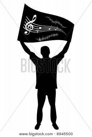 Illustration of a man streaming a flag with stave