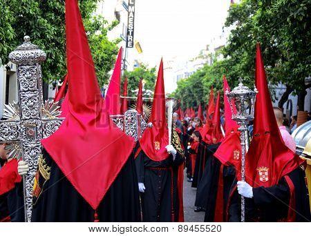 Penitents of Holy Thursday. Spain. Córdoba.