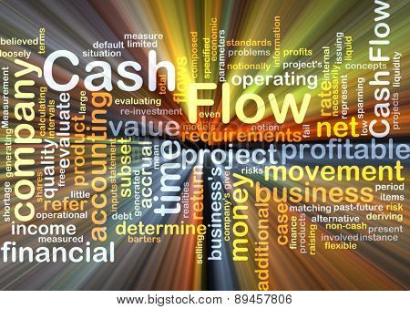 Background concept wordcloud illustration of cash flow glowing light