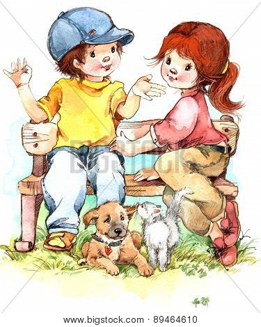 Cute boy and girl. watercolor illustration