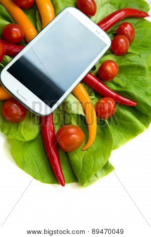 Vegetables And A Smartphone