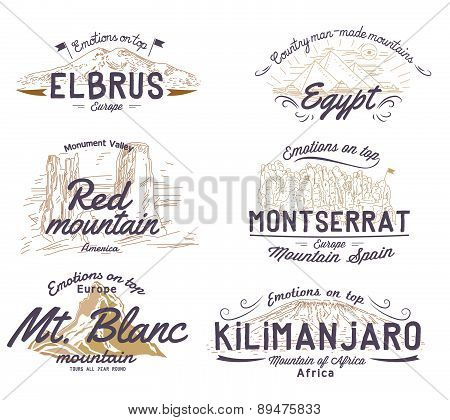 Set of retro logos with views of mountains, labels and icons