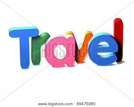 3D Colorful Word Travel On White Background