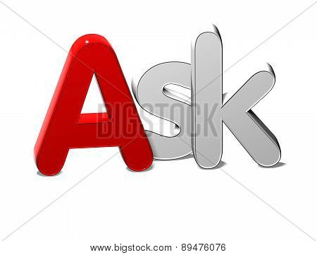 3D Silver Word Ask On White Background