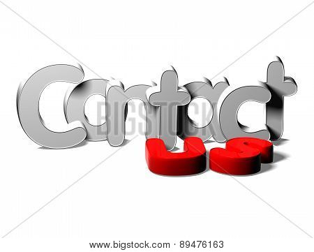 3D Silver Word Contact Us On White Background