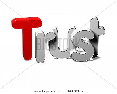 3D Silver Word Trust On White Background