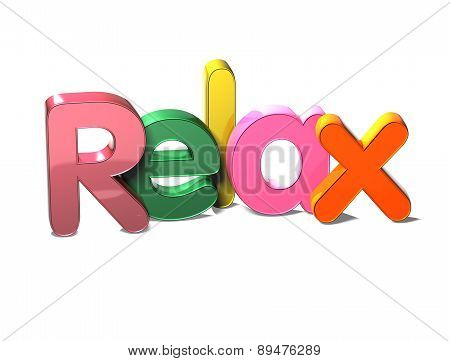 3D Colorful Word Relax On White Background