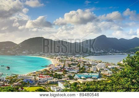 Philipsburg, Sint Maarten, cityscape at the Great Salt Pond.