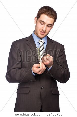 Lucky man counting money isolated on white background poster