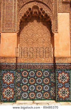 Bahia Palace, MARRAKECH, MOROCCO - April 13, 2105: Details on the fasade.