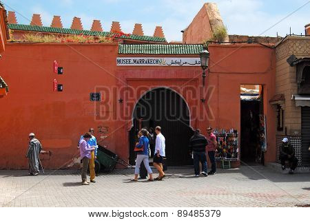 Marrakech Museum, MOROCCO, MARRAKECH - April 15, 2015: The museum is housed in the Dar Menebhi Palac