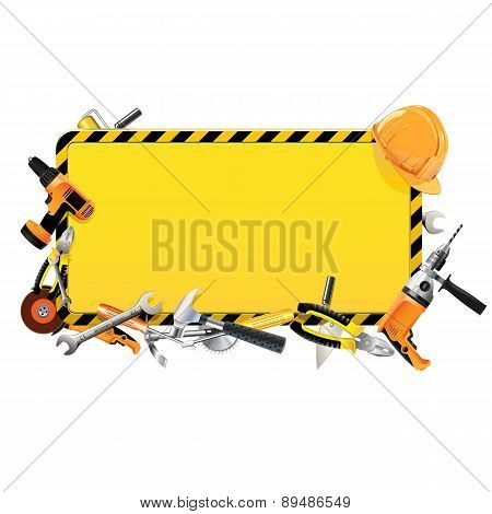 Vector Construction Frame with Tools