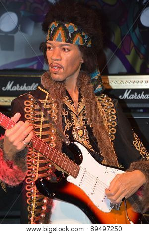 A wax figure of Jimi Hendrix
