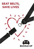Seatbelt strap with a glowing heart and a family on a car wearing safety belts. Illustrative seat belt poster campaign awareness. vector and jpg. poster