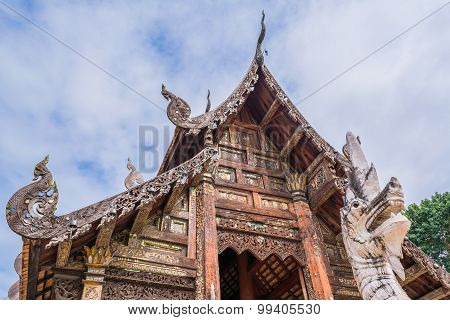 Wat Ton Kain, Old Temple Made From Wood  In Chiang Mai Thailand.