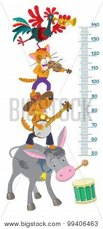Meter wall or height meter with funny Bremen Town Musicians poster