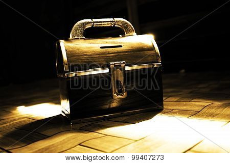 Vintage Wooden Chest,Treasure Box Concept Background,Dramatic Look poster