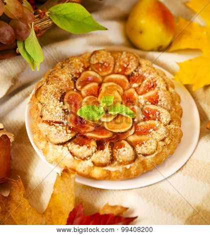 Homemade Fig Pie With Nuts And Honey