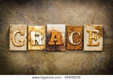 "The word ""GRACE"" written in rusty metal letterpress type on an old aged leather background. poster"