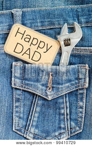 Closeup Father's Day Card Love Dad.