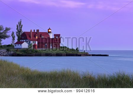 Point Betsie Light At Sundown