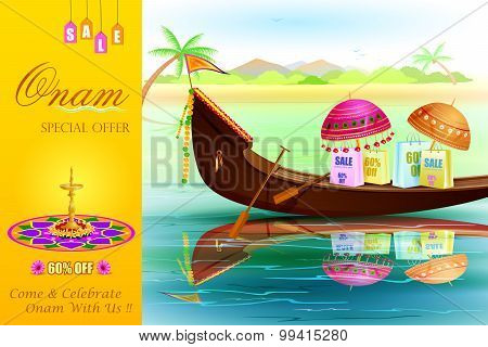 easy to edit vector illustration of Onam Sale and promotion offer poster