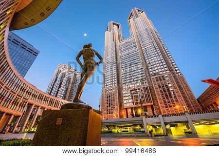 TOKYO, JAPAN - AUGUST 3, 2015: The Tokyo Metropolitan Government building. The building is headquarters of the Tokyo Metropolitan Government which governs 23 wards and outlying cities of Tokyo.